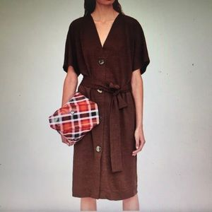 Zara Trafaluc brown button down dress SZ M NWT